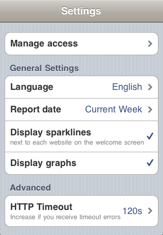 Piwik Mobile 1.5 on iOS - Settings Screen