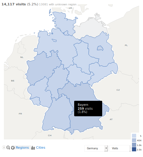 Visitors Maps World Region City Analytics Platform Piwik - Germany map in world map