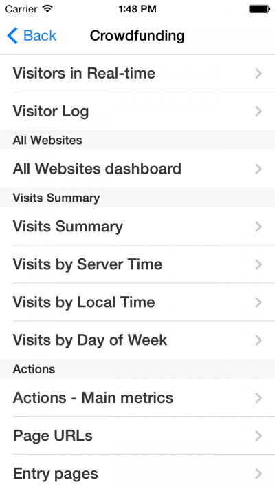 Matomo Mobile 1 - Reports - iOS 7 Preview