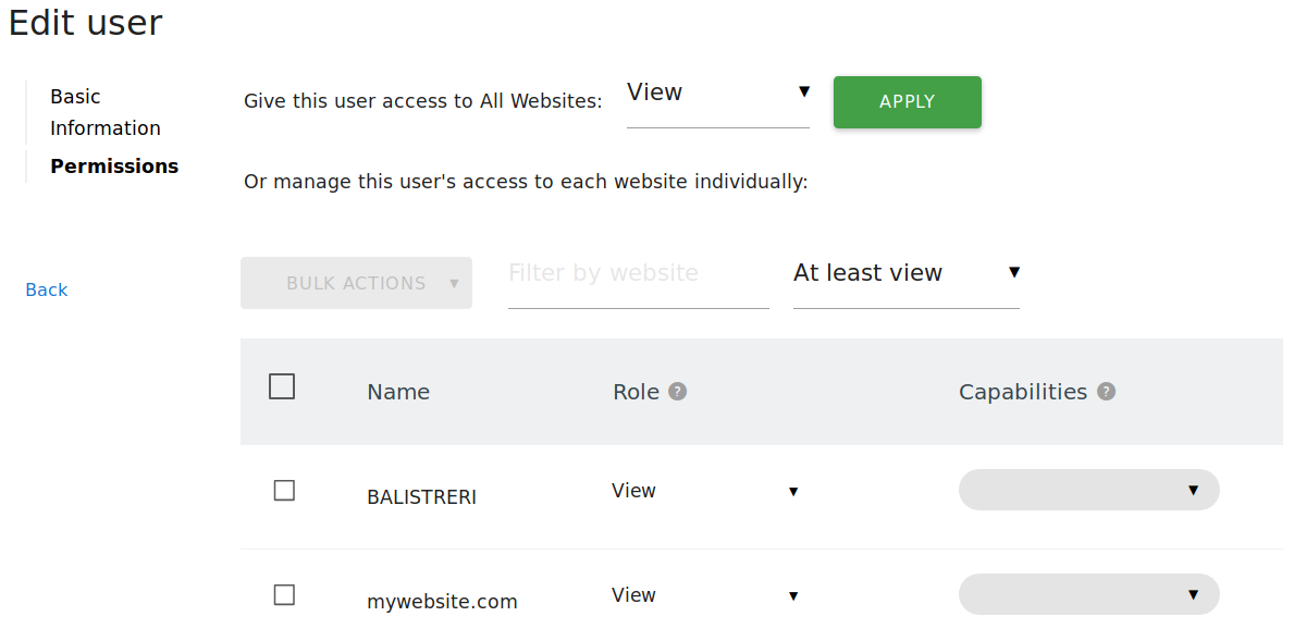 Permissions tab in the User Edit Form for Admins