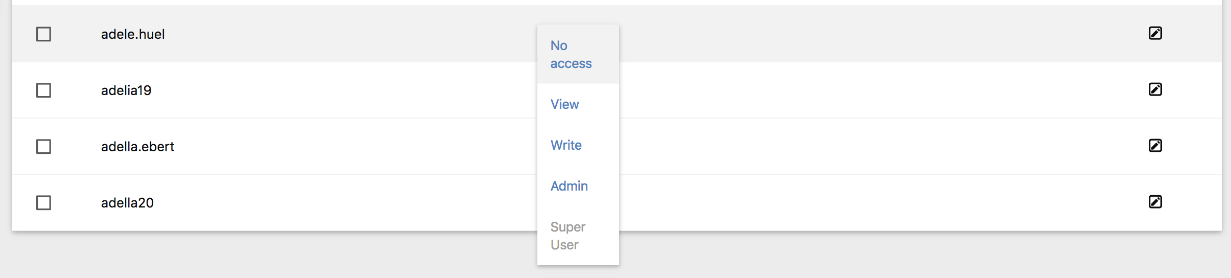 Users Table Role Dropdown