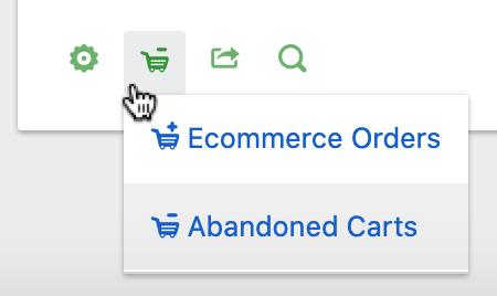 Ecommerce Cart Type Menu