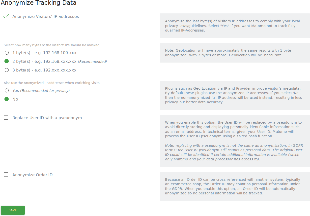Configure Privacy Settings in Matomo User Guide - Analytics