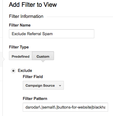 Configuring a referrer spam filter in Google Analytics