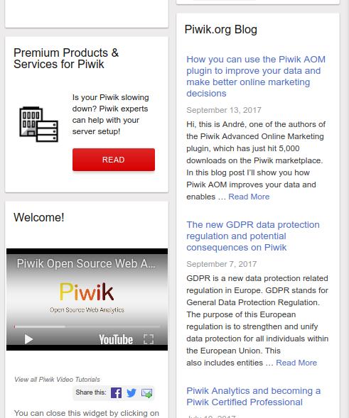 Piwik branded widget examples