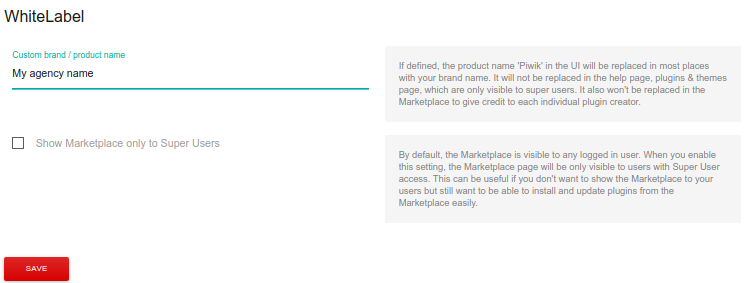 Matomo white label plugin settings