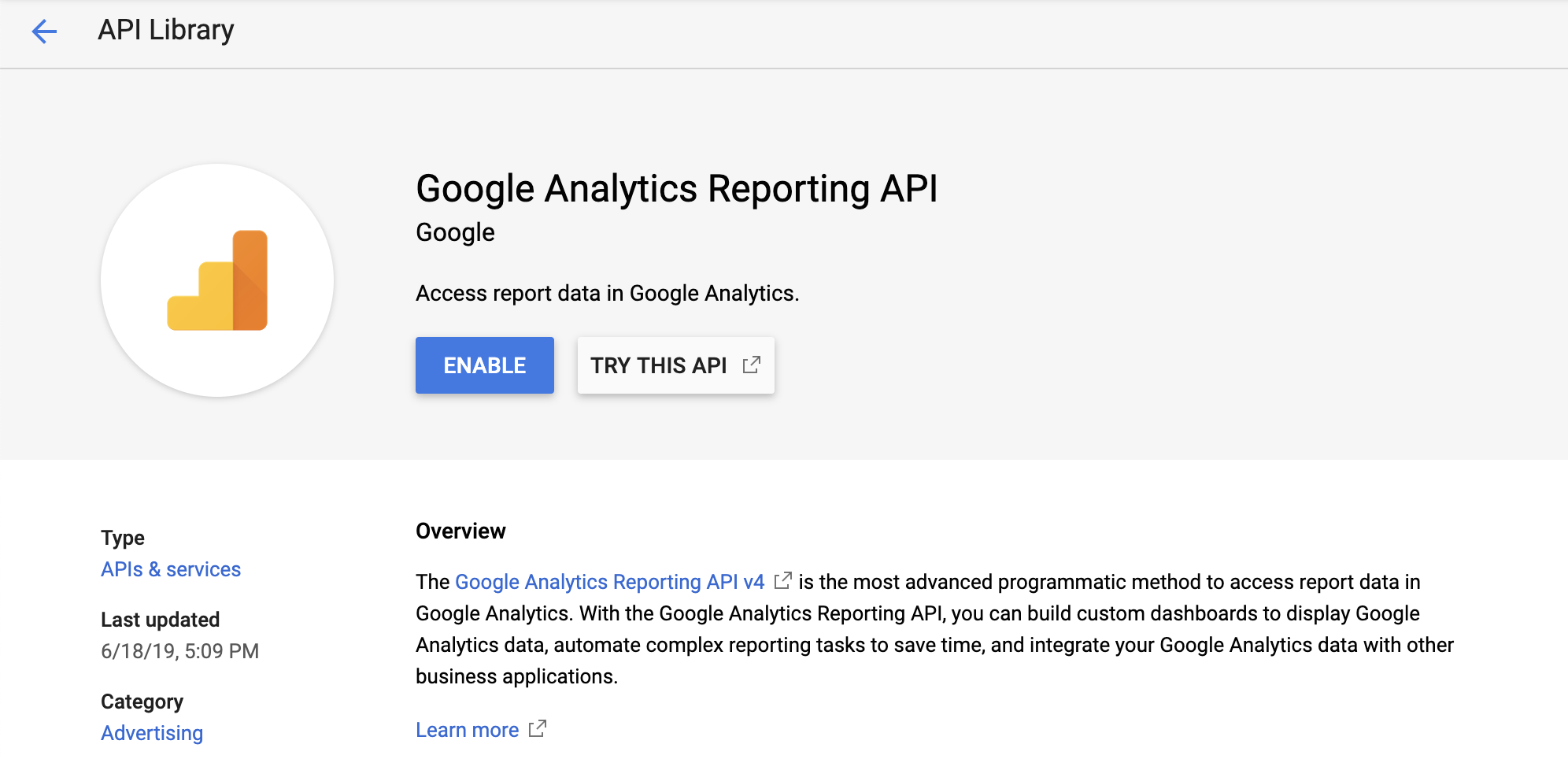 Google Analytics Reporting API