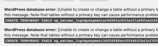 Matomo for WordPress DB Error Message