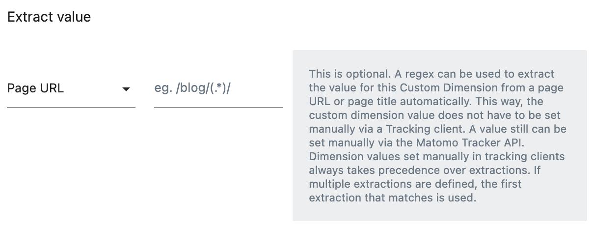 Custom Dimension Extraction Settings